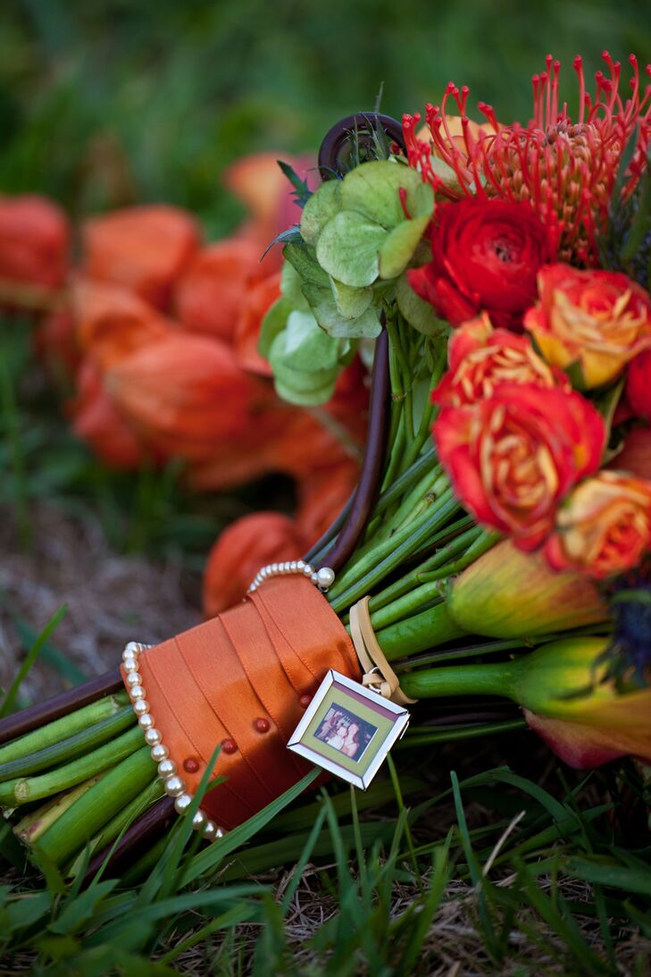 Burnt Orange Ribbon Bouquet Wrap