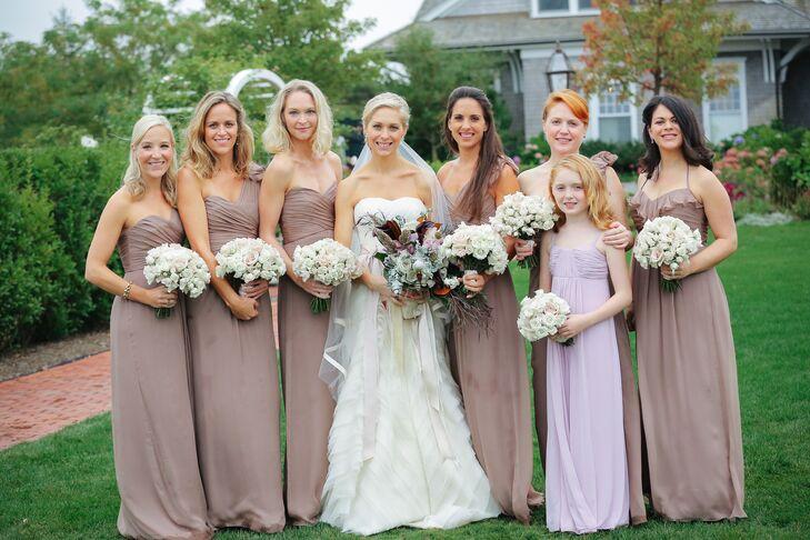 ba6631f1c7f Amsale Strapless Taupe Bridesmaid Dresses