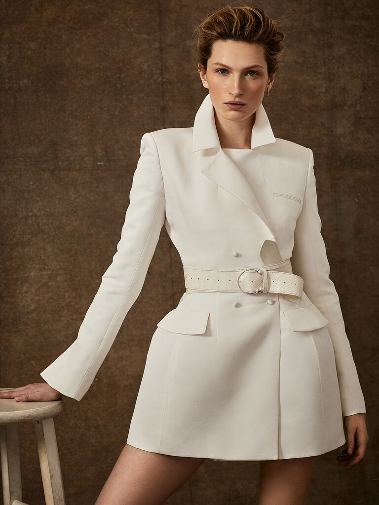 Danielle Frankel Spring 2020 Bridal Collection white tuxedo jacket wedding dress with high collar