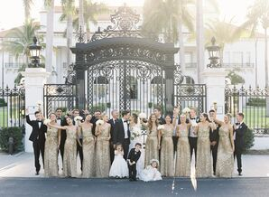 Elegant Wedding Party Outside The Flagler Museum