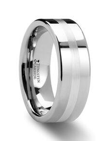Mens Tungsten Wedding Bands W873-FSSB Tungsten Wedding Ring