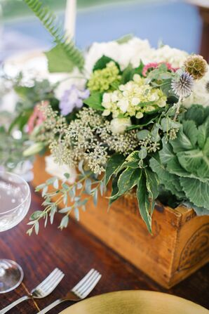 Lush Green Centerpieces in Wooden Planter Boxes