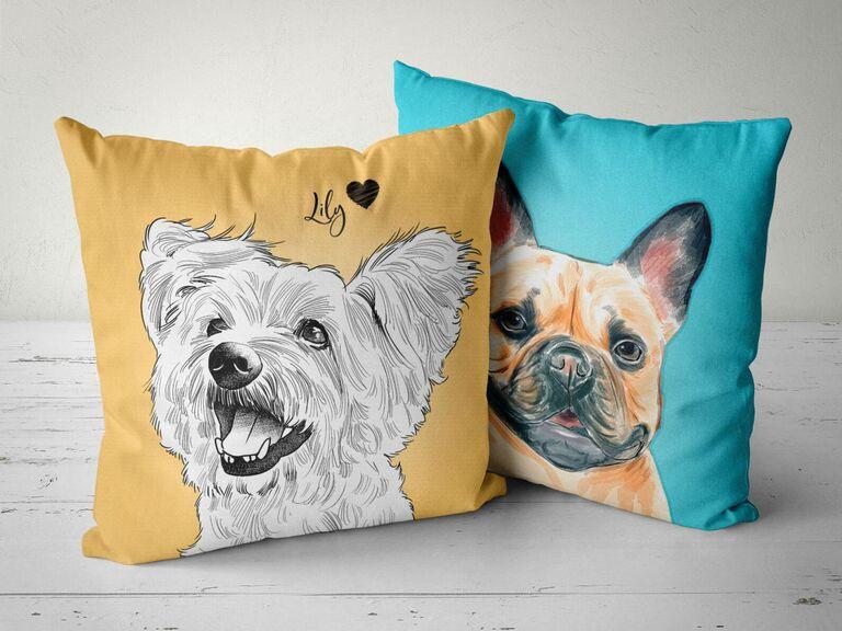 pet portrait pillow gift for fiance