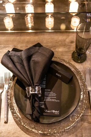 Glamorous Black Place Setting for Wedding at Parish Art Museum in Water Mill, New York