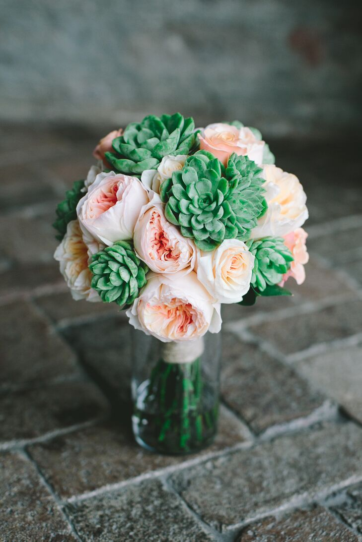 Pink Rose and Succulent Bridal Bouquet