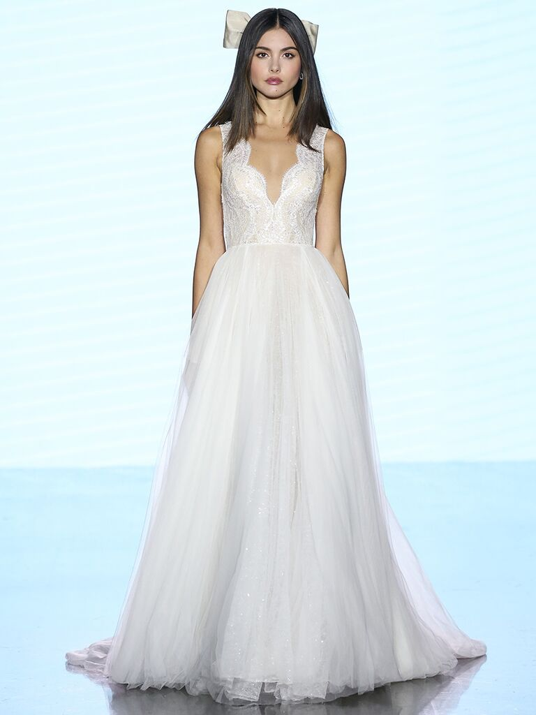 Watters wedding dress tulle a-line with scalloped detailing