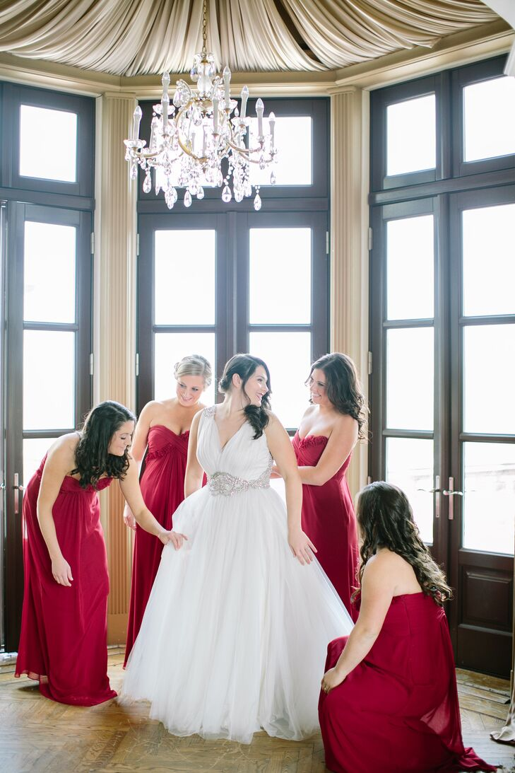 Red Floor-Length Monique Lhuillier Bridesmaid Dresses