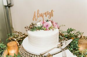 Romantic, Single-Tier Wedding Cake with Topper and Flowers