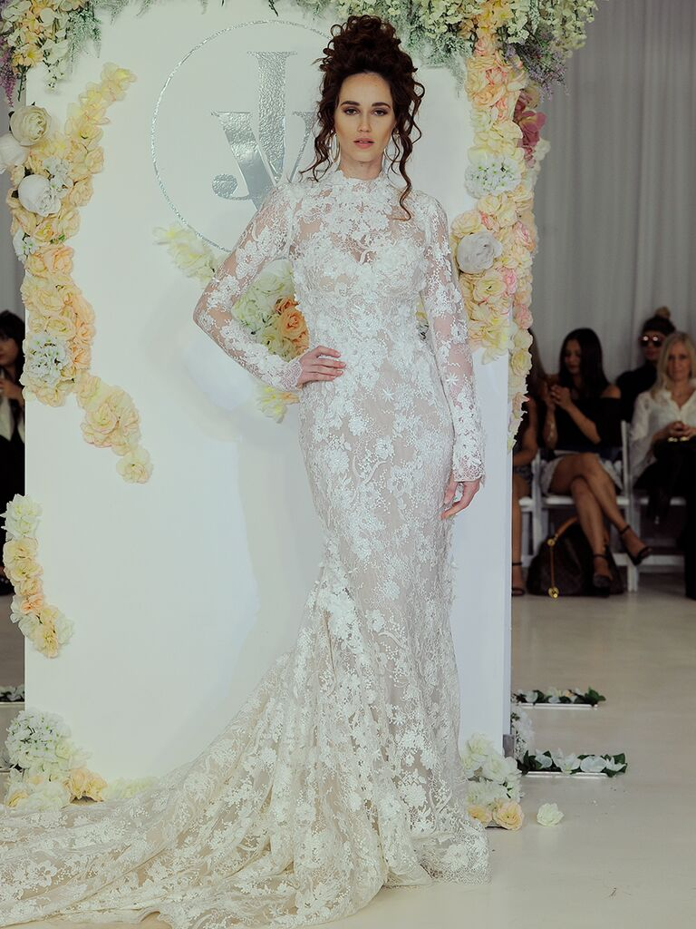 Julie Vino Fall 2018 lace long sleeve wedding dress with train