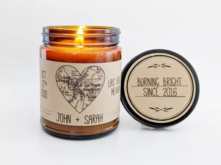 personalized map candle engagement gift