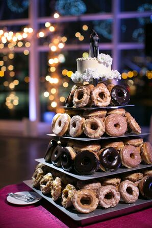 Assorted Donuts and Classic One-Tier Cutting Cake