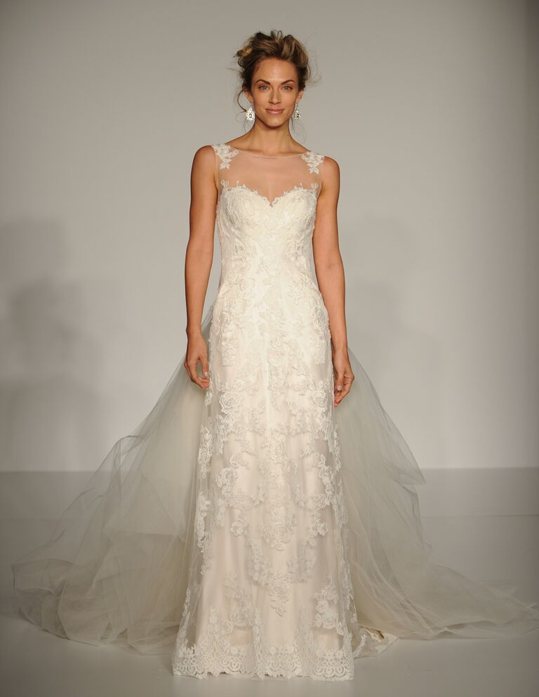 Maggie Sottero Fall 2016 sleeveless dress with illusion neckline, floral lace details and flowing tulle train