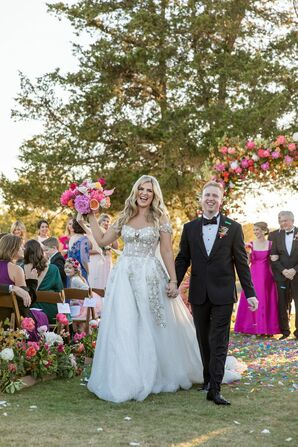 Whimsical Recessional with Beaded Ball Gown, Black Tuxedo and Pink Bouquet