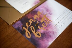 Purple and Gold Watercolor Invitations