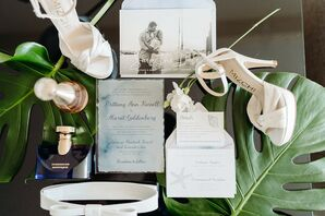 Elegant Beach-Inspired Wedding Invitation and Save-the-Date