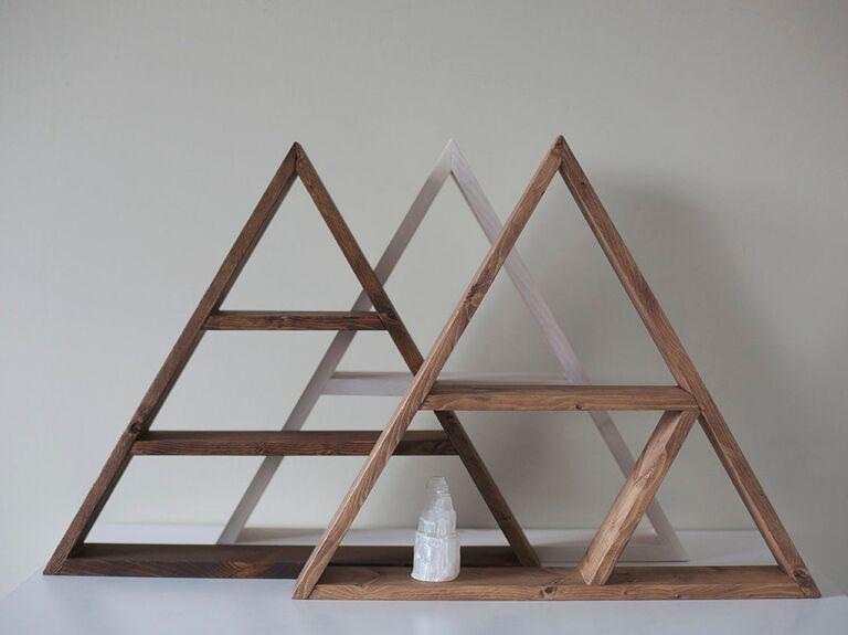 Backyard wedding ideas triangle bookshelves