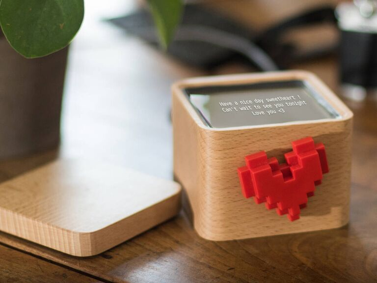 Love heart spinning box messenger device fourth anniversary gift idea