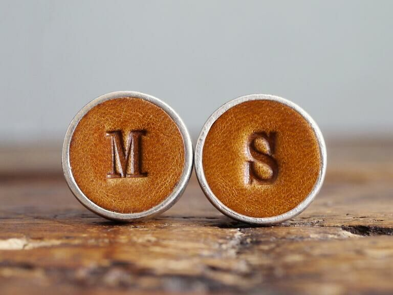 Personalized leather cuff links son-in-law gift idea