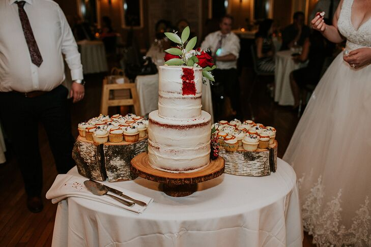 Rustic Semi-Naked Cake and Cupcakes on Wood Stands