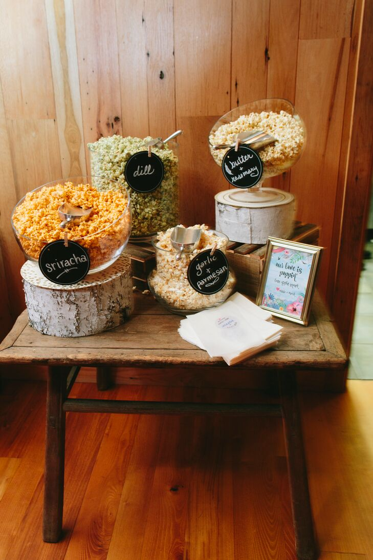 At the reception at Yesterday Spaces in Leicester, North Carolina, guests were invited to make take-away bags of popcorn in unusual flavors, like dill and sriracha.