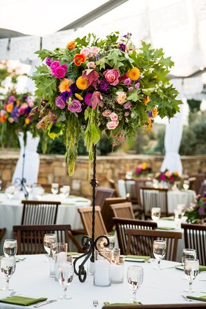 Tall, Bold Florals at the Southwestern-Themed Reception