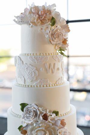 Tiered White Cake with Sugar Flowers and Pearls