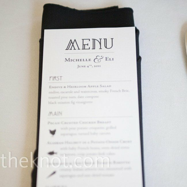 A nod to the historic setting, the crisp black and white menus featured an Art Deco–inspired feel.