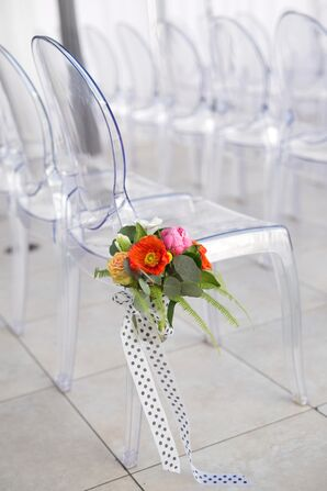 Ghost Chairs with Bright Flowers and Polka Dot Ribbon