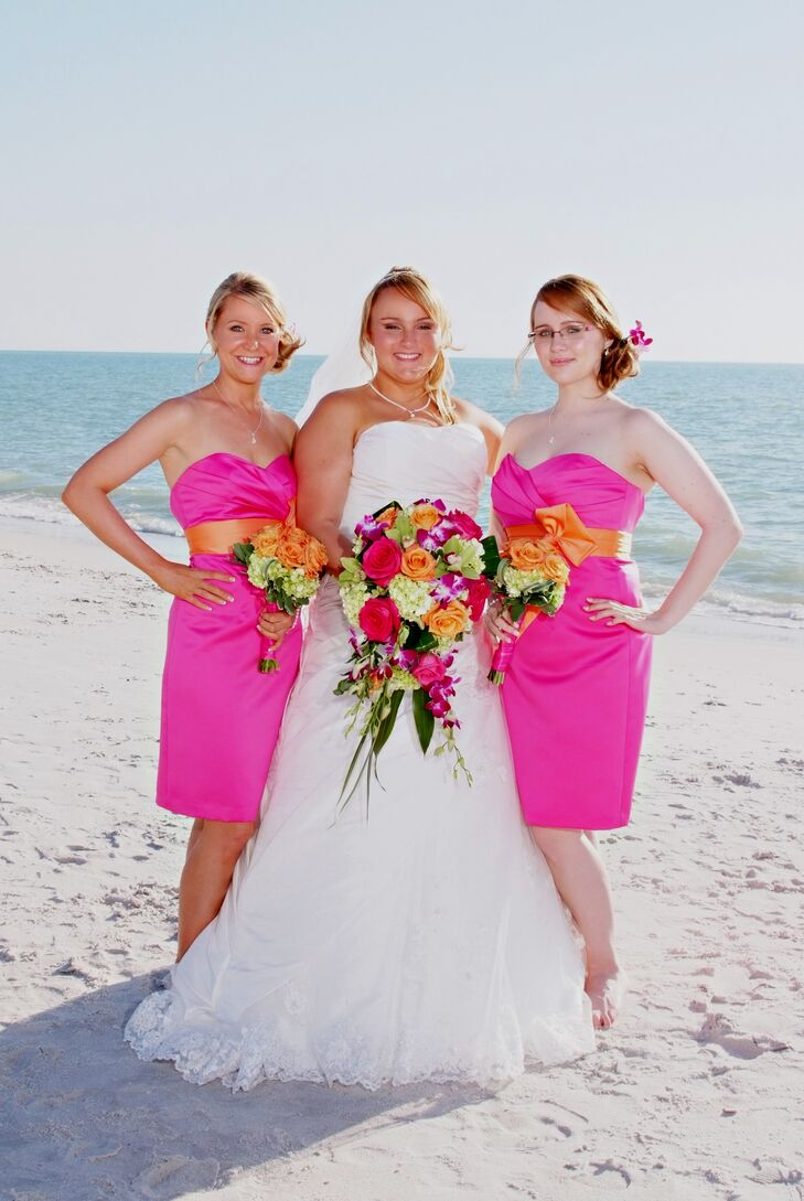 Alfred Angelo Fuchsia And Orange Bridesmaids Dresses