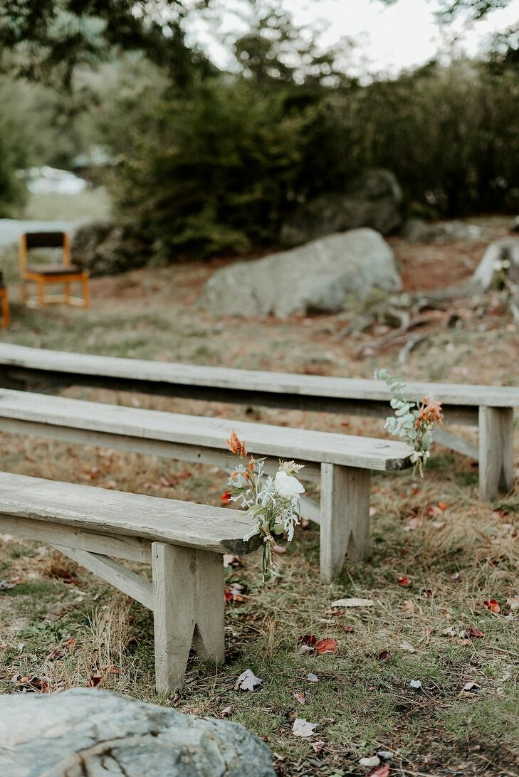 Natural Wood Benches for Ceremony Seating