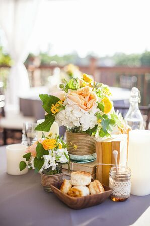 Centerpieces with Books and Flowers