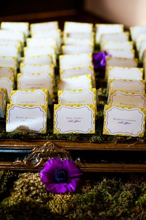 Purple and Yellow Escort Cards