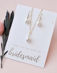 Dareth Colburn Simple Pearl Drop Bridesmaid Jewelry Set (JS-1696-BR) Wedding Necklace photo