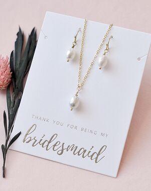 Dareth Colburn Simple Pearl Drop Bridesmaid Jewelry Set (JS-1696-BR) Wedding Necklace photo