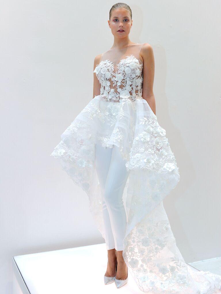 Francesca Miranda Spring 2019 Bridal Look With High Low Skirt Over Skinny Pants