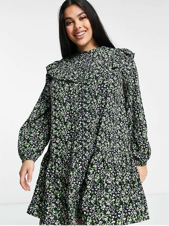 Long sleeve cottagecore dress with ruffled neckline and dark floral print