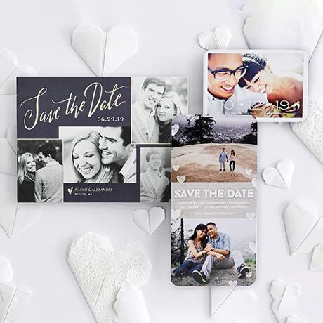 Personalized save-the-dates showcasing your engagement photo in a variety of styles.