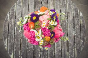 Bright, Whimsical Asymmetrical Bridal Bouquet