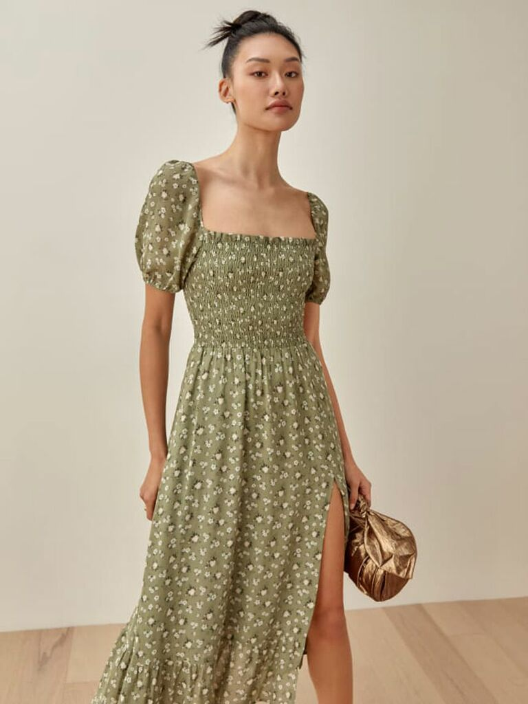 Green maxi cottagecore dress with puff sleeves and smocked bodice