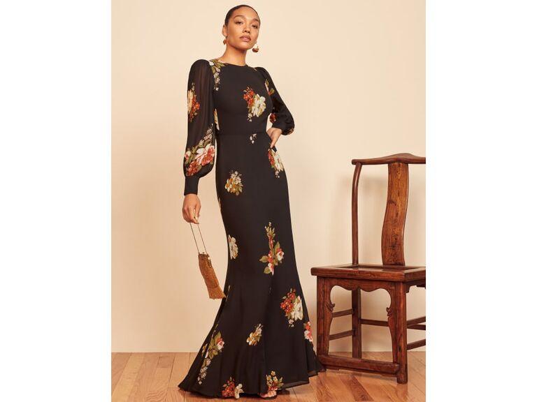Black long sleeve floral fit-and-flare dress
