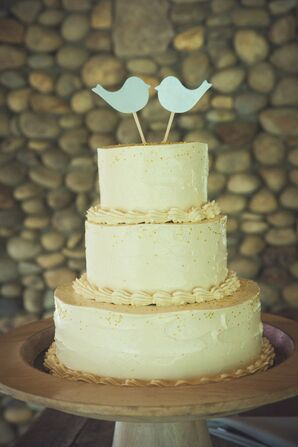 Simple Ivory Wedding Cake With Bird Toppers