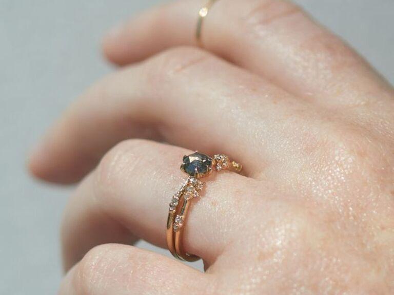 Salt and pepper diamond alternative engagement ring