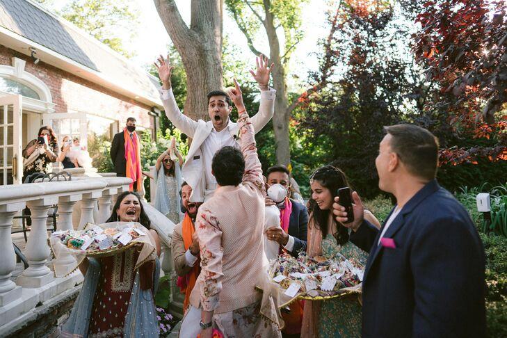 Guests Celebrating During Backyard Minimony in Westbury, New York
