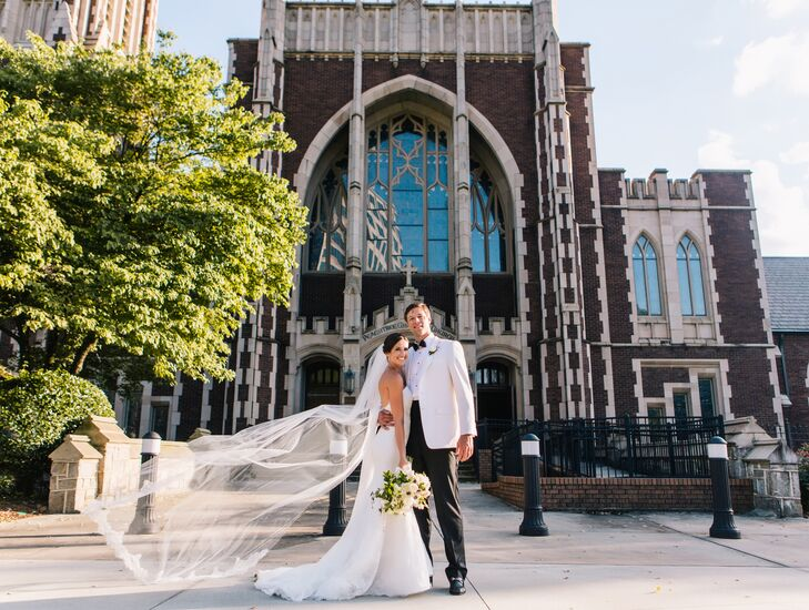 The couple, who met through friends while living in Athens, Georgia, held their ceremony at Peachtree Christian Church in downtown Atlanta. The bride wore a Monique Lhuillier dress and the groom wore a custom Alton Lane suit.