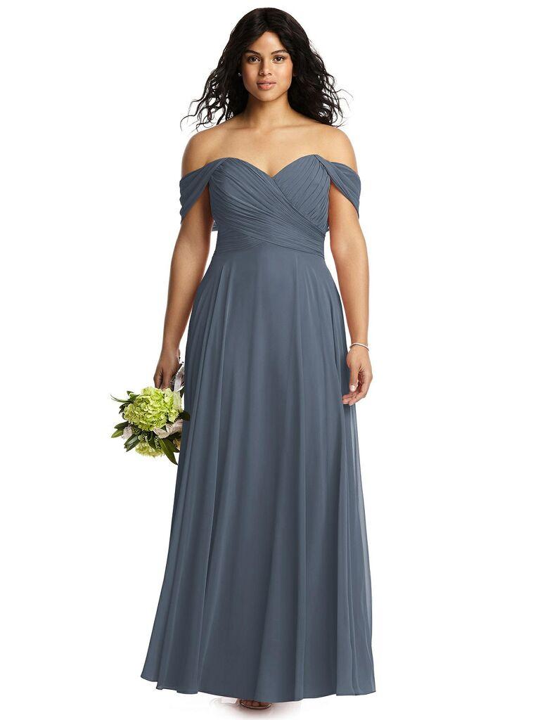 Blue gray off the shoulder bridesmaid dress