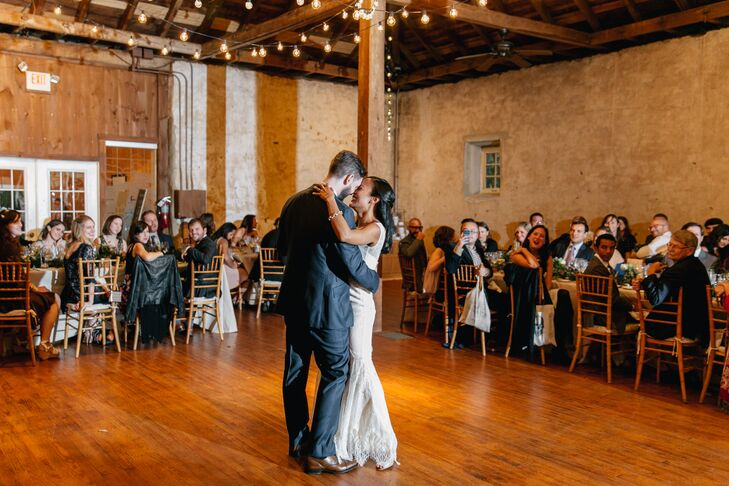 First Dance Under Barn's String Lights