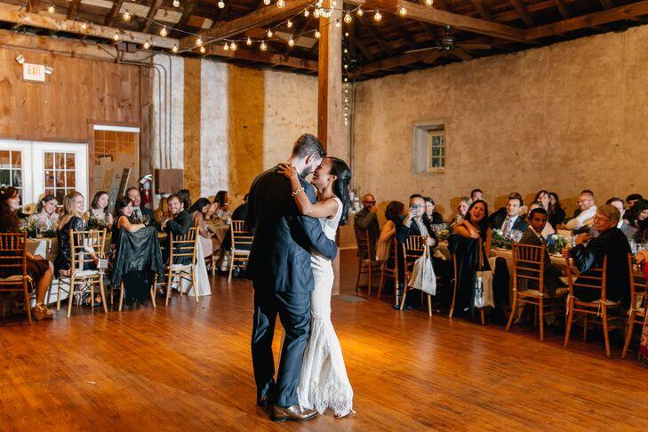 First Dance Under Barn's String Lights