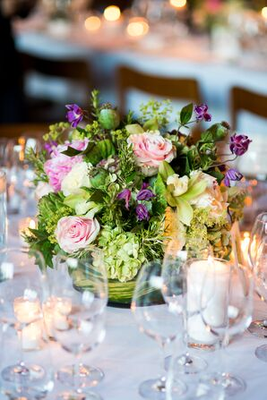 Round Centerpieces with Pink Roses and Greenery