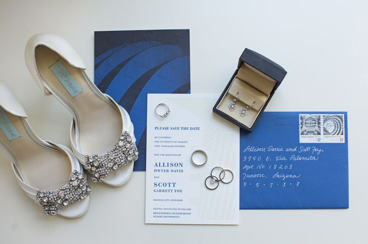 Modern Blue and White Wedding Invitations