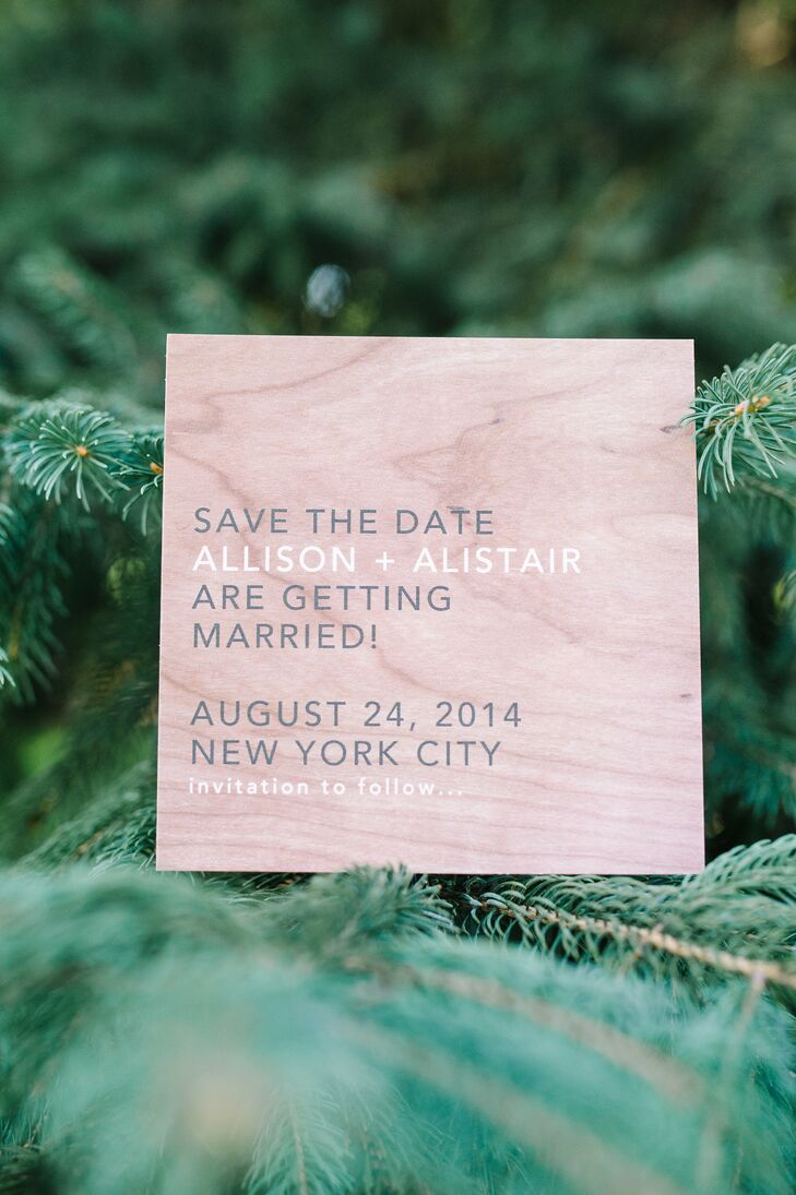 To reflect the natural elements of their wedding, Allison and Alistair sent their guests save-the-dates printed on paper that resembled wood. Paper goods at their wedding were provided by Wedding Paper Divas.